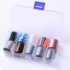 Holographics Nail Foils Kit Transparent Flower Nail Art Transfer Stickers Decals