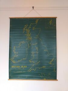 BRITISH ISLES VINTAGE SCHOOL MAP DOUBLE SIDED CHALK BOARD BY TVA PLASTIC/RUBBER