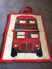 Vintage Large Harrods PVC Shopping Bag Tote Double Decker Bus