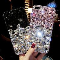 For iPhone 8 X Rhinestone Diamond Bling Jewelled Crystal 3D Hard Back Phone Case