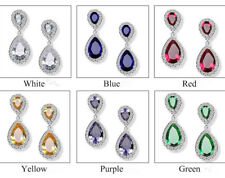 10KT White Gold Plated Women Fashion Sapphire Drop Dangle Earrings Wedding Gifts