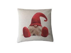 Handmade Christmas Elf digital Print water colour linen look cushion cover