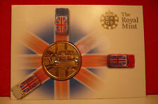 royal mint 50 years of mini gold coin+blue crystal head and tail lights in card