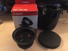 CANON WC-DC58  0.8x Wide Angle Converter Lens, Both Caps, Case & Box - Like New