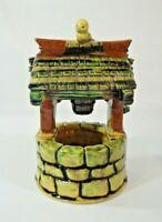"Vintage Art Pottery Wishing Well Planter Brown Green Yellow Bird 7862 8.5"" x 5"""