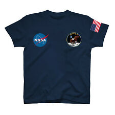 NASA ASTRONAUT USA FLAG PRINT Pocket AMERICAN Logo Men Women Unisex T-shirt N2
