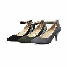 Women's Plus Size High-Heeled Suede Fabric Pointed Shoes Ankle Straps Pumps D093