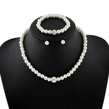 Prom Wedding Bridal Jewelry Ivory Pearl Crystal Necklace Earrings Bracelet Set