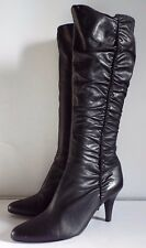 Faith 6 / 39 Black leather  Knee high boots Shirring Pointed Zip Sexy Chic