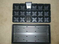 """18-3 1/2 SQ."""" PLASTIC POTS with 1-CARRY TRAY& 1-NO HOLE TRAY for SEED STARTING"""