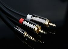 High-end 1.5M 5' Stereo AUX Audio Cable extension 3.5mm male to 2RCA male,black