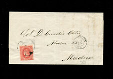 "Spain classic postal history 1864 4cuartos with ""51 Cartwheel"" Bailen to Madrid."