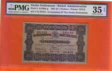1921 Straits Settlements $5 note .PMG 35 VF NET