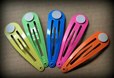 20 x Rainbow Hair Snap Clips w Glue Pad 50mm - yellow, green, blue, pink, orange