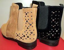 Damen Winter Gefüttert Schuhe Stiefeletten Ankle Boots Stiefel mit Nieten 36-41