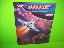 Nintendo VS GRADIUS 1986 Original Video Arcade Game Promo Flyer Space Age Art