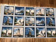 Beautiful Lighthouses cotton  Fabric Panel quilt / sew Elizabeth Studio
