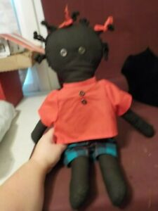 CUTE HANDMADE RAG DOLL AFRICAN AMERICAN GIRL IN RED SHIRT