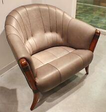 """37"""" W Arm Chair soft Italian gray leather solid polished hardwood frame unique"""