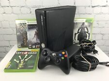 Microsoft Xbox 360 S Console Black 320GB Bundle w/ Controller & 4 Games Tested