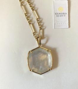 Kendra Scott Davis Long Gold-Tone Mother-Of-Pearl Pendant Necklace White