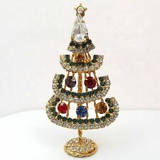 Vintage Colorful Rhinestone Christmas Xmas Tree Brooch Pin Figurine
