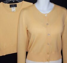 Les Copains Sweater 44 Cardigan Shell Twinset Cashmere Silk Medium Small Yellow