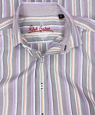 Robert Graham Multicolor Stripe Contrast Flip Cuff Long Sleeve Button Shirt Sz M