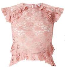 Miss Selfridge Petite cap sleeve lace blouse nude Size 14 BNWT £28