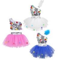 Sequins Kid Ballet Dance Dress Girls Jazz Stage Performing Dancewear Costume Set