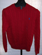 NWT Polo Ralph Lauren Tudor Red cotton cable Knit Sweater Mens Size LARGE Tall
