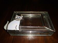 Sweet Little Cat Sits On Pin Dish Metal & Frosted Glass Very Gently Used