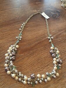 """TALBOTS Mixed-Pearl Necklace NWT $89 Antique Gold Tone 16"""" Drop NEW"""