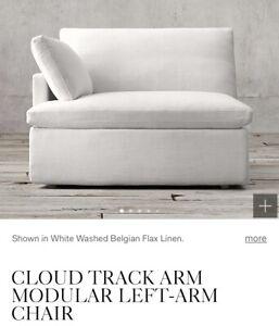 Restoration Hardware Cloud Luxe Textured Linen Weave Slipcover Left Arm