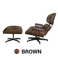 Eame Mid Century Lounge Chair And Ottoman Footstool Brown Leather Walnut
