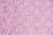 SATIN ROSETTE 3D FLORAL EMBROIDER BACKDROP PINK WEDDING BY THE YARD