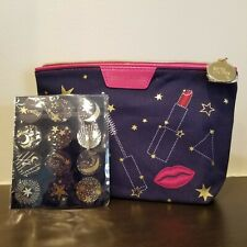 NEW ESTEE LAUDER BLUE COSMETIC MAKE-UP BAG zodiac or celestial stars + STICKERS