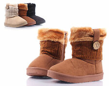 Brown nn Rubber Sole Ankle-High Winter Faux Suede Fur Girls Kids Boots Size 2