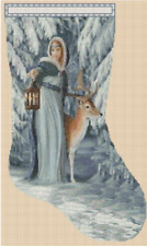 Christmas Stocking Lady with Deer Counted Cross Stitch Chart No. 4-289