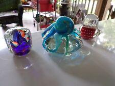 VTG LOT 3 Murano Italian Art Glass Sculpture/Paperweight - OCTOPUS*FISH BOWL RED