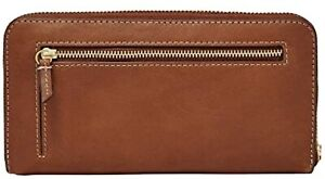 Fossil Emma Large Zip Clutch Leather Wallet Brown