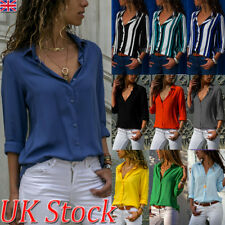 UK Womens Long Sleeve Casual OL Shirts Ladies Button V-neck Tops Blouse 6 - 20