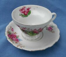 Beautiful Vintage 1940's Porcelain Cup & Saucer Red Flowers Japan