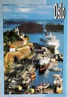 Vintage Postcard Norge Oslo Havn NORWAY Cruise Ship in Fjord 1990s