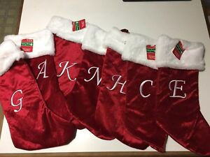 """Merry Brite 20"""" Monogram Christmas Stocking Various Letters Available NWT"""