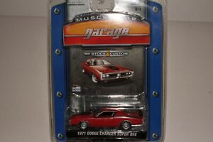 GREENLIGHT MUSCLE CAR GARAGE 1971 DODGE CHARGER SUPER BEE, RED, 1:64, NIB