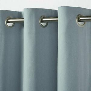 B&Q Taowa  Blue-Grey  Plain Unlined Single Ring Top Eyelet Curtain Panel X1