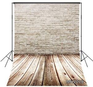 8X10FT White Brick Wall Rustic Wood Plank Floor Vinyl Backdrop Photo Background