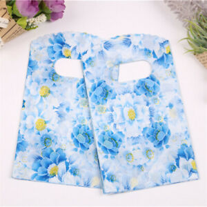 Wholesale Blue Flower Packing Bag Party Small Plastic Pouches Jewelry Gift Bags