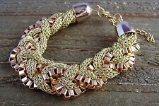 Chunky Bracelet Gold Tone Braided Chain Link Mesh Bangle Statement Jewelry